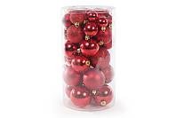 Набор елочных шаров красный, 3см, 4см, 5см, 6см (40 шт)