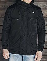 Легкая ветровка мужская спортивная Staff watro black черная, с капюшоном, куртка 2017
