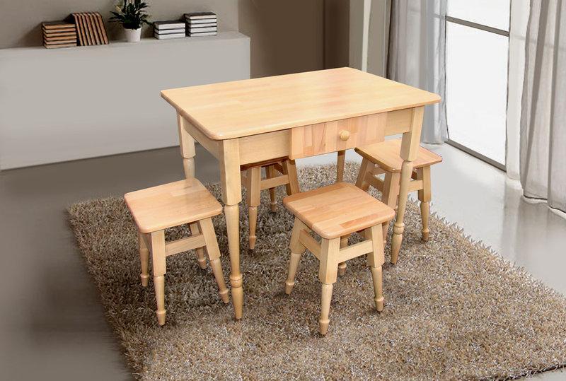 Комплект кухонный стол + 4 табурета бук светлый ТМ Микс мебель