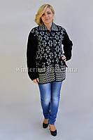 Женская черная кофта с узором, большие размеры