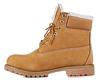 Ботинки Timberland женские Classic 6 inch Yellow Winter Fur (с мехом), ботинки Тимберленд женские