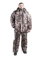 Зимний охотничий костюм Лес бурый, толстый слой синтипона, водонепроницаемая мембрана алова, -30с комфорт