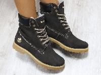 Ботинки зимние в стиле Timberland коричневые