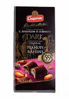 Шоколад Спартак горький 59% с арахисом и изюмом 90гр