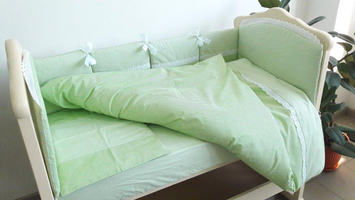 """Сменный постельный комплект в детскую кроватку """"Кристина"""" 3 предмета, салатовый"""