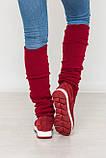 Женские демисезонные замшевые сапоги с довязом (бордовый), фото 2