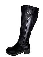 Сапоги женские чёрные на толстом каблуке