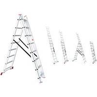 Лестница алюминиевая 3-х секционная раскладная 3*9 ступ., 5,93 м LT-0309