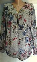 Кофта трикотажная с цветочным рисунком большого размера