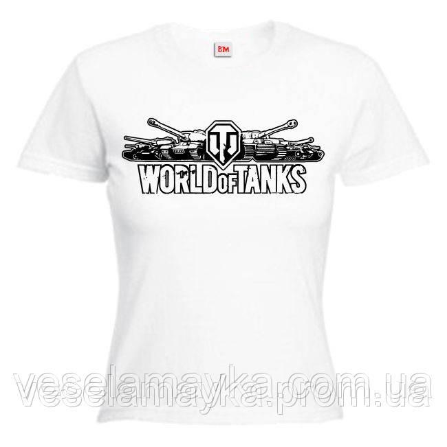 """Жіноча футболка """"World of tanks (світ танків)"""" логотип"""