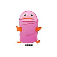 Корзина для игрушек розовая для девочки Утенок 38*45 в кулькеR1001
