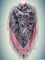 Шерстяной платок Дамский каприз, бледно розовый 140см