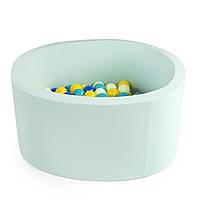 Бассейн детский игровой с шариками (круглый, мятный)