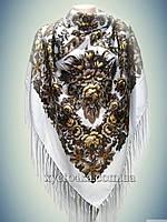 Шерстяной платок Дамский каприз, белый 140см