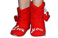 """Флисовые домашние уютные тапочки """"Love you"""", тапочки для всей семьи. Любой размер и цвет."""