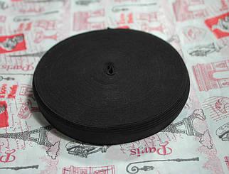 Резинка текстильная черная плотная 2см, 25м