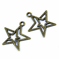 Кулон Звезда, Металл, Цвет: Бронза, Размер: 23x20.5x2мм, Отверстие 1.5мм, (УТ100008748)