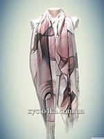 Турецкий кашемировый палантин Геометрия, пудра -розовый