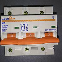 Автоматический выключатель модульный ECO MB 3p D 100A /  Вимик.авт. ECO MB 3p 100A тип D 380B 6кА ECOHOME