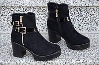 Весенние ботинки полусапожки ботильоны на каблуке, на платформе женские черные (Код: 886а)