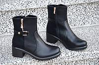 Весенние ботинки полусапожки на широком каблуке, на платформе женские черные