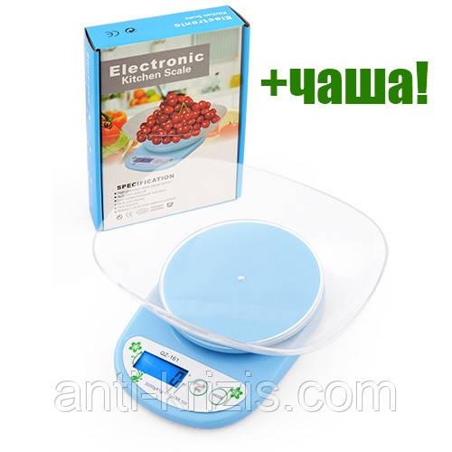 Ваги кухонні QZ 161A, 5кг, чаша+батарейки, ваги БЕЗ підсвічування
