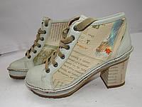 ART _Португалия _Стильные ботинки на каблуку эксклюзивные _Кожа _Качество _стиль_39р_ст.25см н64