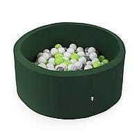 Бассейн детский игровой с шариками (круглый, зеленый)