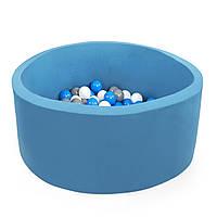 Бассейн детский игровой с шариками (круглый, синий)