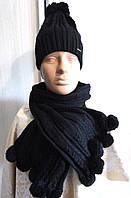 Комплект шапка и шарф женский черный