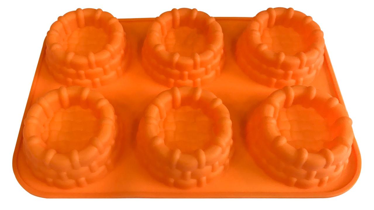 Форма силиконовая для выпечки Корзинки 6 шт на планшете