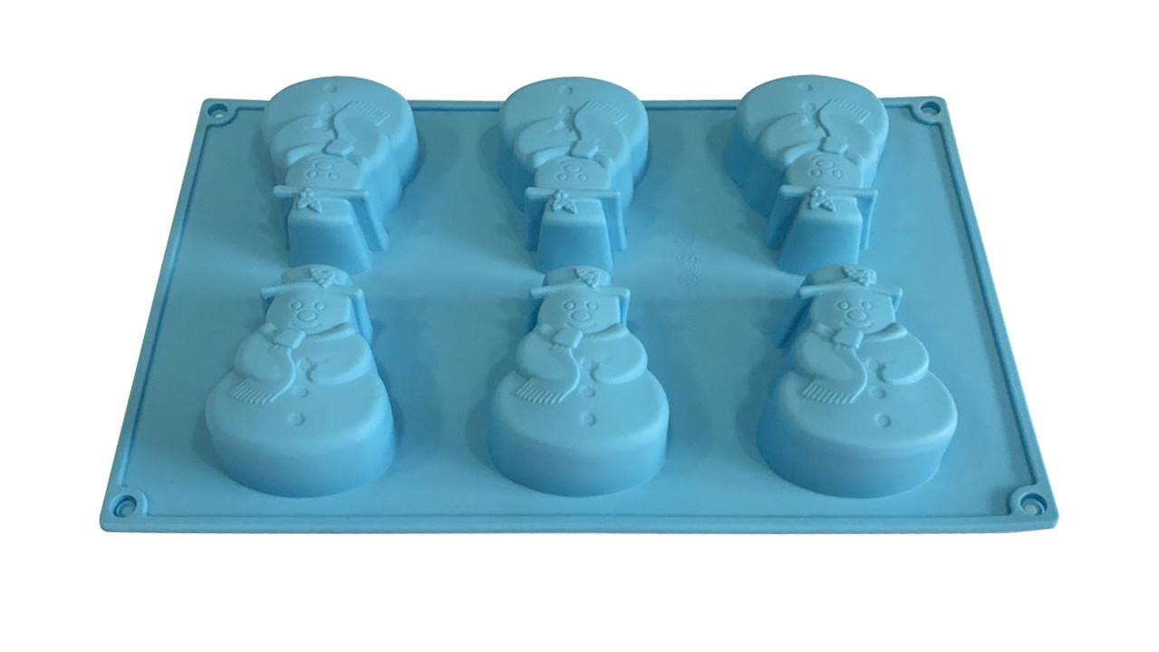 Форма силиконовая для выпечки Снеговик 6 шт на планшете