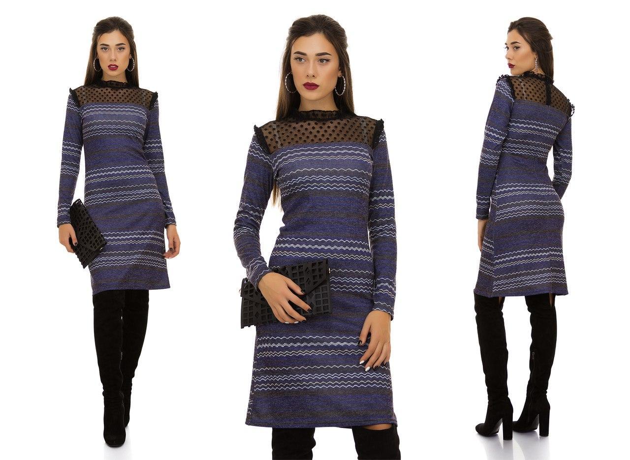 Приталенное ангоровое платье с орнаментом и вставкой сетки по верху