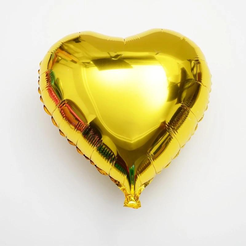 Повітряна куля з фольги серце золотистий металік 45 см