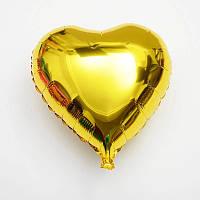 Воздушный шар из фольги сердце золотистый металлик 45 см