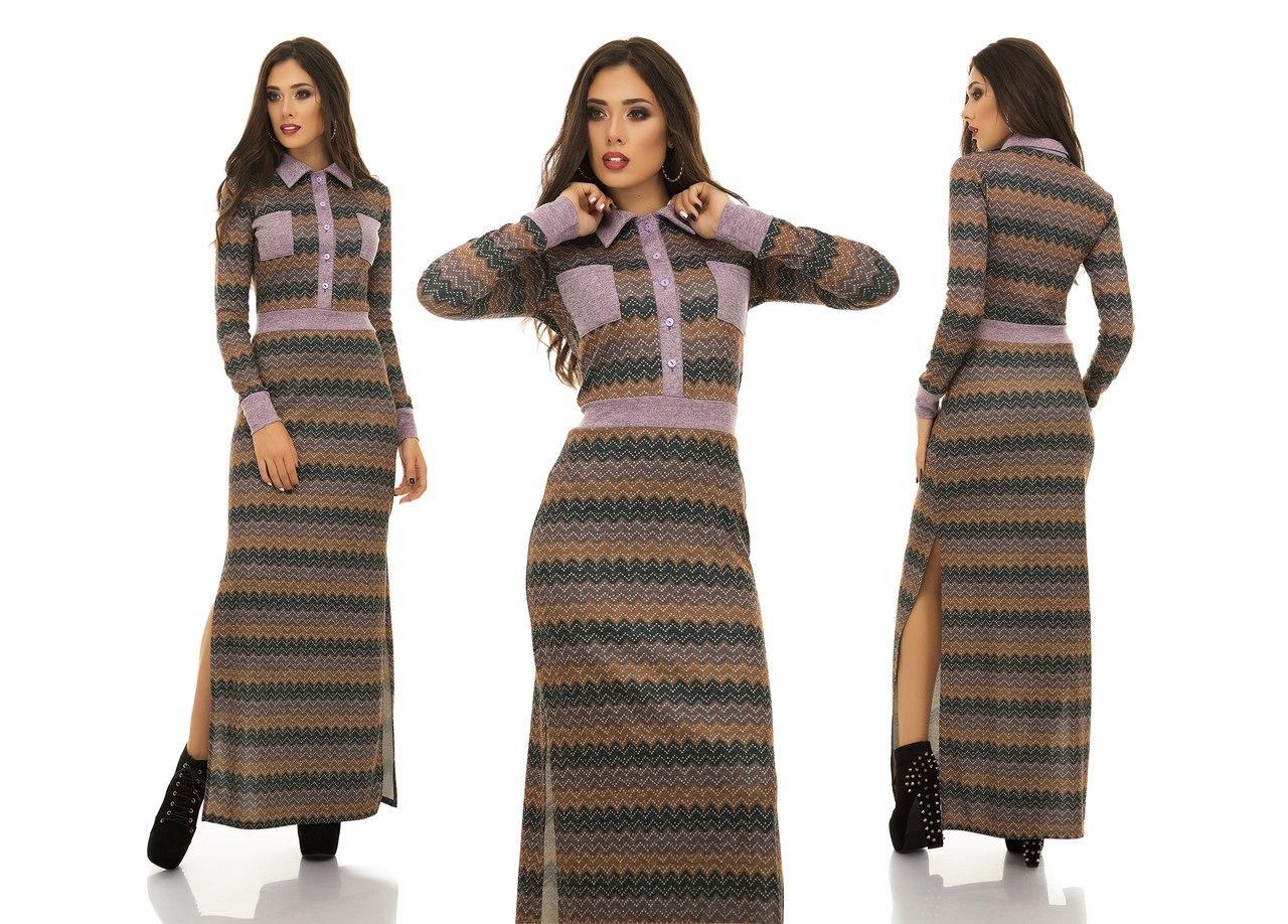 Модное макси платье в пол с рубашечным воротом и глубокими разрезами по ногам