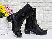 Завышенные Ботинки из натуральной кожа черного цвета, на удобной противоскользящей подошве, Коллекция Осень-Зима, М-51
