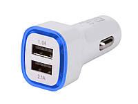 Универсальное автомобильное зарядное устройство USB 2.1A с LED подсветкой  Голубой