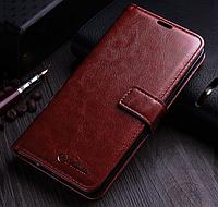 Кожаный чехол-книжка для Samsung Galaxy S8 Plus коричневый