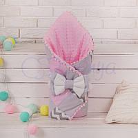 Конверт-одеяло на выписку лоскутный, Зигзаги серо-розовые