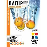 Фотобумага CW глянцевая 200g/m2, A4, 50л, картонная упаковка (PG200050A4)