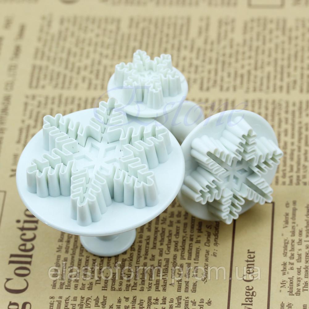 Каттер снежинка -3 шт.для вырубки мастики, работ с глиной, самозастывающими массами