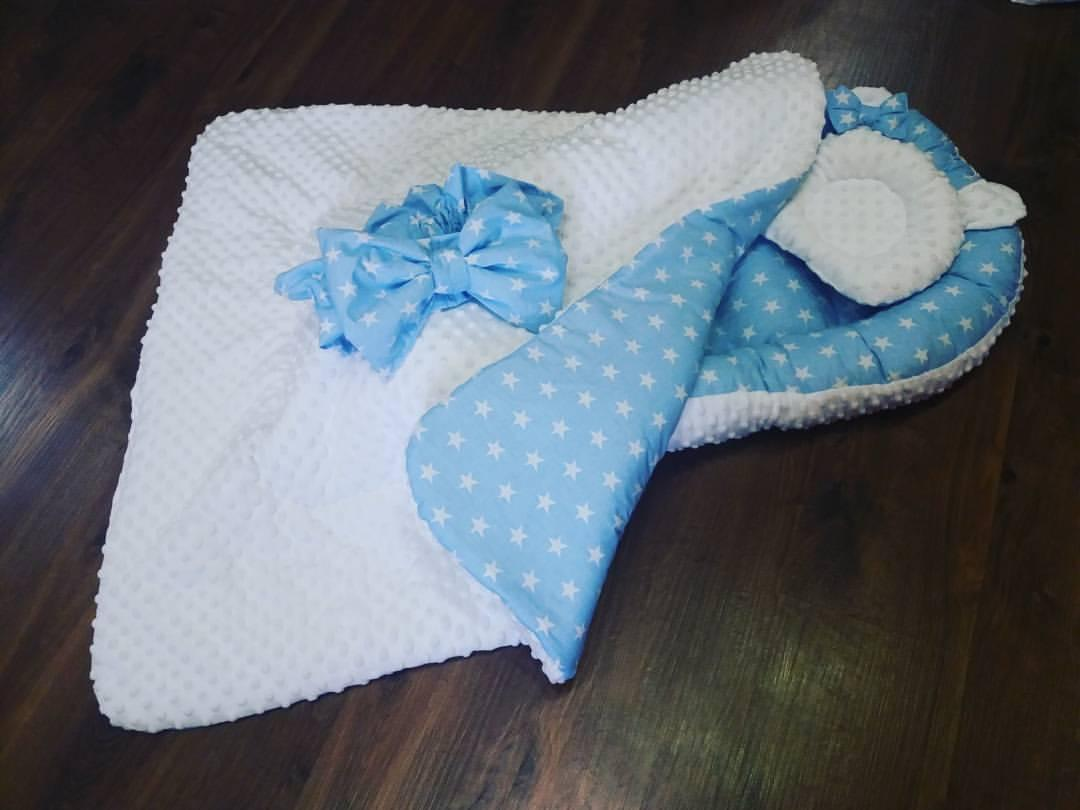 Кокон голубые звезды+ ортопедическая подушка + конверт-плед на выписку, фото 1