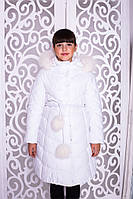 Зимний плащ длинный   Пуховик для девочки зима белый