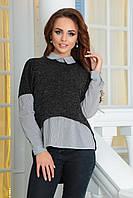 Женская блузка с асимметричной жилеткой обманкой