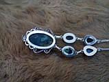 Оригинальное ожерелье с камнем лабрадор в серебре. Индия!, фото 6