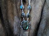 Оригинальное ожерелье с камнем лабрадор в серебре. Индия!, фото 3