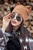 Демисезонная женская замшевая шапка с ушками , фото 3