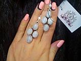 Лунный камень. Красивые серьги с лунным камнем в серебре. Натуральный лунный камень. Индия, фото 3