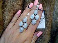 Красивые серьги с лунным камнем в серебре. Натуральный лунный камень